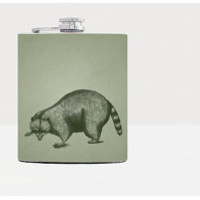 Raccoon Flask - Hip flask - Green - Stainless Steel Flask