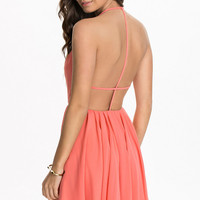 Pink Bare Back Halter V-Neckline Skater Dress