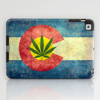 Retro Colorado State flag with the leaf - Marijuana leaf that is! iPad Case by Bruce Stanfield