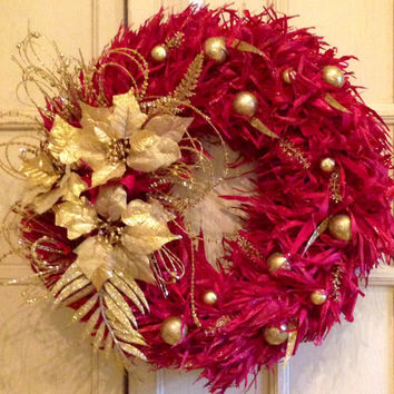 Red And Gold Decorative Christmas Wreath, Red Christmas Wreath, Christmas Wreath, Custom Red Christmas Wreath, Red and Gold Christmas