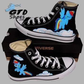 ICIKGQ8 hand painted converse hi my little pony rainbow dash cartoon handpainted shoes
