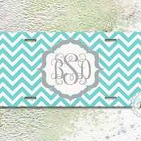Monogram car tag - Тiffany blue chevron on stylish floral monogram , personalized license plate , custom front plate