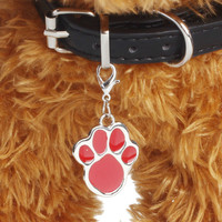 6 colors Pet Jewelry Cat dog collar pendant tags Pawprint Necklace Collar Puppy identity collar accessory drop shipping