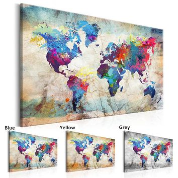 Unframed 1 Panel Large HD Printed Canvas Print Painting World Map Home Decoration Wall Pictures for Living Room Wall Art on Canv