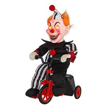 Halloween Indoor/Outdoor Decor Decoration Totally Ghoul Animated Scary Clown on Tricycle