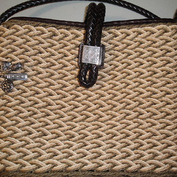 Womens Vintage Straw Like Summer Brighton Bag Purse Shoulder Bag Leather Trim Strap