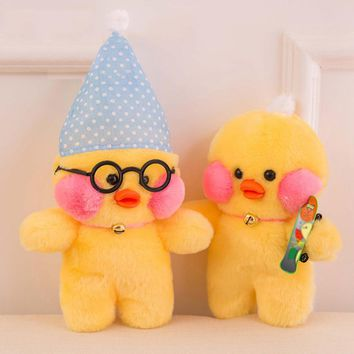 Customized Shy Duck Wearing Hat Glasses Plush Dolls Toy