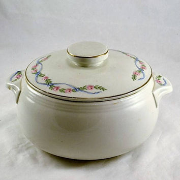 Hall China Casserole w/ Lid Wildfire Pattern - Lugged Handles or Tabbed Handles - Roses in a Blue Ribbon - 1950s