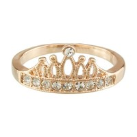 FM42 Pave Clear Crystal Hollowed-out Crown Design Princess Style Ring R307