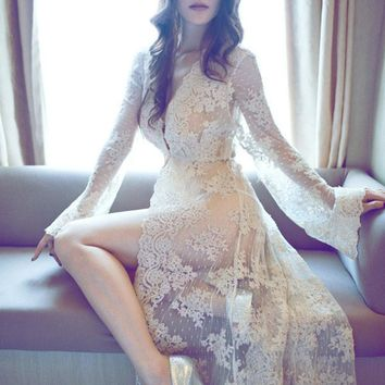 New Fancy Gown Maternity Photography Props Long Lace Dress