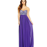 Sequin Hearts Strapless AB Bodice Gown | Dillards.com