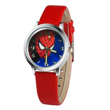 Hot Spiderman Pattern Leather Strap Children's Watch Fashion Child Quartz Watch Boy Student Girl Cartoon 6 Color Sports Clock