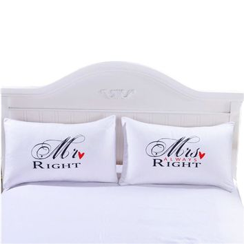 Cool Mr Mrs Pillow Case Couple King Queen His Her Always Right Pillowcase Pillow Cover Wedding Valentine's Gift40AT_93_12