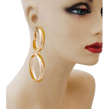 Gold Hammered Double  Hung Hoop Earrings