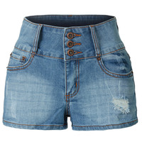 LE3NO Womens Stretchy High Waisted Washed Denim Shorts with Pockets