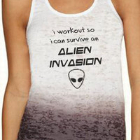 Fitness Ombre Tank I Workout So I Can Survive An Alien Invasion Navy