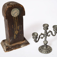 Old 1940s GERMAN doll house, dollhouse furniture, Gothic, Grandfather clock - handmade & candelabra, haunted house, miniatures