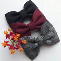 Black, burgundy, and grey and black floral hair bow lot from Seaside Sparrow.  Perfect Brandy Melville inspired accessory gift for her.