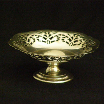 Lovely Silver Pedestal Footed Candy Dish Open Work Small Filigree Makers Mark Made in England