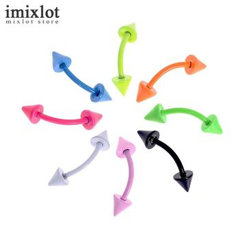 8Pcs 18g Eyebrow Piercing Curved Barbell Ear Cartilage Helix Piercing Ring Cone Spike Labret Lip Piercing Body Jewelry