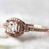 0.56ct Oval Natural Morganite Ring 0.17ctw H/SI Halo Diamond Engagement Ring Wedding Ring Promise Ring  Bridal Ring Handmade Jewelry