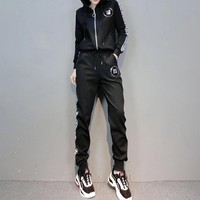 """Fendi"" Women Fashion Multicolor Letter Webbing Long Sleeve Zip Cardigan Hoodie Trousers Set Two-Piece Sportswear"