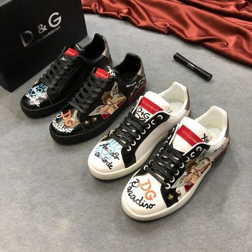 Dolce&Gabbana Print Leather D&G Low-Top Sneakers - Best Deal Online