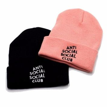 Autumn Winter Unisex Anti Social Social Cub Knit Beanies Hat