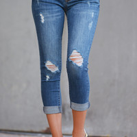 Can't Get Enough Crop Skinny Jeans - Medium Wash