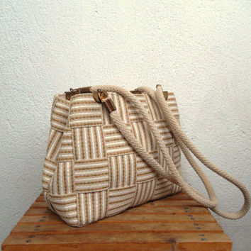 Taupe Basketweave Summer Beach Tote, Checkerboard Handbag, Valley Girl Bag, Farmers Market Plaid Pattern Purse, Geometric Boho Wicker Bag