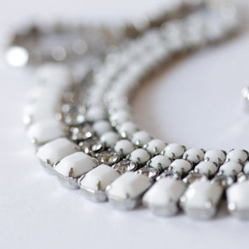 """Vintage Signed """"Weiss"""" White Milk Glass and Rhinestone Necklace"""