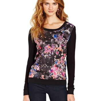 Teen Vogue Sweater, Crew Neck Pullover with Floral Chiffon Front - Juniors Sweaters - Macy's