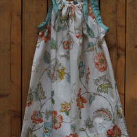 Coral Skies, pillowcase dress size 3 to 4 with drawstring tote.