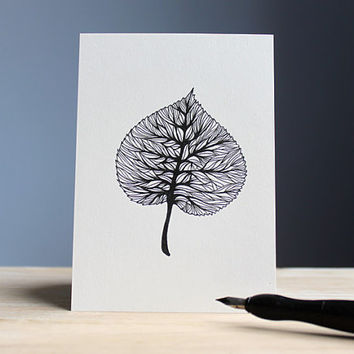hand drawn postcard BIRCH 10,5 x 14,8 cm // ink leaf illustration - card with black drawing