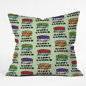 Andi Bird Happy Camper Green Throw Pillow