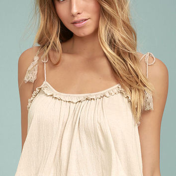 Cruisin' In Cancun Beige Crop Top