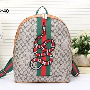 Gucci Women Men Fashion Personality Classic Print Multicolor Stripe Snake Pattern Embroidery Backpack Large Capacity Double Shoulder Bag