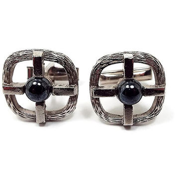 Faux Hematite Cuff Links, Vintage Cufflinks, Silver Tone and Metallic Gray, Mens Formal, Retro 1970s 70s, Hipster Jewelry, Gift for Him