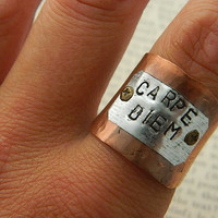 Inspirational ring Carpe Diem Copper ring adjustable ring wide band ring