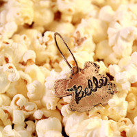 Double-sided Popcorn Pet Tag. Cat Tag. Dog Tag. Yellow Bronze & Brass. Etched. Antique Patina Finish. Personalize