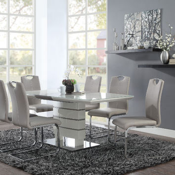 Homelegance HE-5599-71-7PC 7 pc Glissand high gloss white and grey taupe dining table set