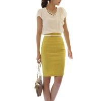 ETOSELL OL Lady High Waist Fit Knee Length Pencil Skirt Womens Straight