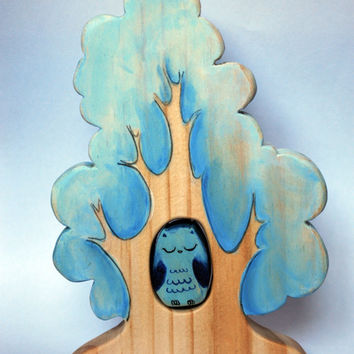 Winter Tree and blue owl, woodland animal set Puzzle/ Handmade Wooden Toy Waldorf Inspired