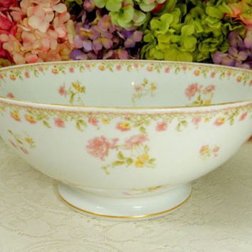 Large Antique Haviland Limoges Porcelain Footed Punch Bowl ~ Pink Floral ~ Gold