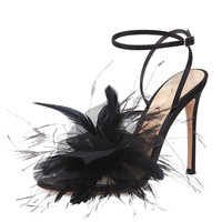 Gianvito Rossi Feather-Embellished Ankle-Wrap Sandal