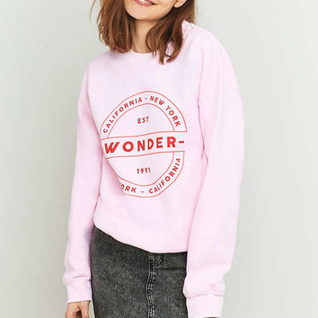 Light Before Dark Wonder Crew Neck Pink Sweatshirt - Urban Outfitters