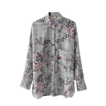 Plaid Women Shirts New Autumn Floral Printed Casual Blouses Turn-down Collar Pockets Long Sleeve Shirts