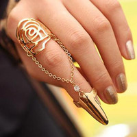 Rose Shape Chain Patchwork Golden Fingernail Ring