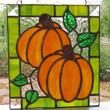 Two Pumpkins Stained Glass Panel - Pumpkin Sun Catcher - Fall Decor - Halloween Decoration - Halloween Pumpkins ~ Wall Decor