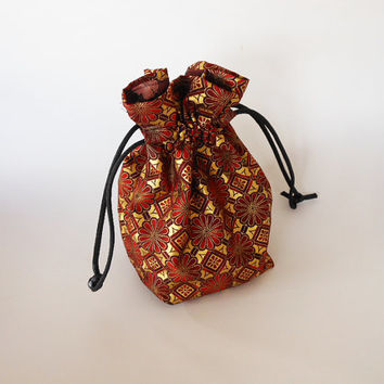 Drawstring Makeup Bag - Abstract Flower Design - Japanese Fabric - Asian Fabric - Makeup Pouch - Cosmetic Bag - Adorable Little Jewelry Bag